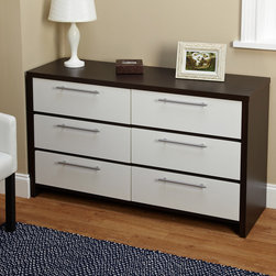 None - Two-Tone Six Drawer Chest - The Two-Tone Six Drawer Chest adds a level of sophistication to any bedroom. With long chrome handles and a two toned European design, the chest is also composed of MDF and paper laminate.