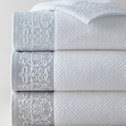 "Kassatex - Kassatex ""Valencia"" Towels - Fresh white cotton jacquard towels are finished with a wide border in your choice of colors. The woven borders feature raised white scrollwork. The piece-dyed, 600-gram towels are made of ring-spun cotton. Rice weave texture. Select border color when..."