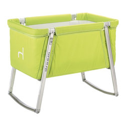 BabyHome - BabyHome Dream Portable Crib, Lime - Dream is an extremely lightweight cot with an aluminum frame that is easy to assemble/disassemble. Its innovative adjustable leg system allows, with the click of a button, to change the leg position from stationary to a rocker to wheels that allow Dream to be easily moved around the house. The fabric can be removed from the aluminum frame and washed. Dream comes with a high-density foam mattress that prevents the baby from getting caught between the edge of the mattress and side of the cot and a honeycomb structured mattress pad that is safe and breathable.