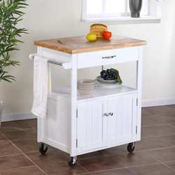 """Dorel Asia - Kitchen Cart with Butcher Block Top - This kitchen cart with butcher block top is perfect for your kitchen or dining room. It includes a drawer, an open shelf and a cupboard to provide ample storage options. This dining room cart or kitchen cart features a white finish and metal hardware. You can hang a towel on the metal bar fixed to the side of the cart. Style, simplicity and functionality define this convenient piece. Features: -White finish. -Metal knobs and accents. -Metal towel bar on one side of the cart. -1 Wide drawer, ideal for storing cutlery or place settings. -Open shelf for display storage. -Cupboard for concealed storage. -The cart is on casters so it can be moved or positioned anywhere. -1 Year warranty. Dimensions: -35"""" H x 30.5"""" W x 19"""" D, 55 lbs."""