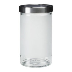 DROPPAR Jar with lid - Jar with lid, frosted glass, stainless steel