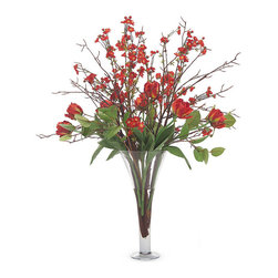 """Frontgate - Quince and Tulips Floral Arrangement - Hand-arranged polyester silk blooms and leaves. Clear, pedestal glass vase. Filled with acrylic """"water"""". Imported. Vibrant red Quince and Tulips mix with stately willow branches in a combination sure to brighten your room and mood. The flowers spring 3-1/2 feet high from a trumpet-style vase. . . . ."""
