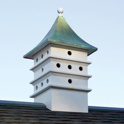Ultimate Purple Martin Cupola Bird House - White - This stunning martin cupola is a beautiful and unique addition to your roof. It has a gorgeous structure with a verdi roof. It is divided into 24 compartments to offer plenty of space for your yard birds, especially the purple martins. Standard base fits on most roofs.