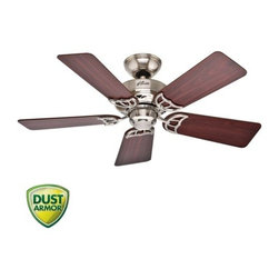 "Hunter - Hunter 52066 Brushed Nickel Hudson Hudson 42"" 5 Blade Ceiling Fan - Features:Includes (5) Reversible Maple / Cherry Blades3"" Downrod IncludedSuitable for Use in Dry Locations OnlyCovered by the Hunter Limited Lifetime WarrantyProduct Technologies:WhisperWind Motor - The WhisperWind motor, available on most Hunter Fan models, delivers ultra-powerful air movement with whisper-quiet performance. Trust WhisperWind to produce the cooling power you want without the noise you donÂ't.Dust Armor - Dust Armor is HunterÂ's patented nanotechnology which repels dust from hard to reach fan blades. Dust Armor coating has been applied to the blades of this ceiling fan, reducing dust build up by up to 58% compared to conventional fan blades.Blade Specifications:Primary Blade Finish: MapleSecondary Blade Finish: CherryNumber of Blades: 5Blade Span: 42""Blade Pitch: 13-Motor Specifications:Motor Size: 172mm x 12mmSpeeds: 3CFM (High): 3790RPM (High): 275Energy Efficiency (CFM/Watt): 59Amperage: 0.52 AmpsSimilar Models:52065 (White Finish with Reversible White / Light Oak Blades )52066 (Brushed Nickel Finish with Reversible Maple / Cherry Blades ) (This Model)52067 (New Bronze Finish with Reversible Black Walnut / Medium Oak Blades )Accessories (Add to Cart to View All Options):A Variety of Light Kits are AvailableRemote and Wall Controls AvailableSloped Ceiling Adapter for Angles up to 45-Hunter combines 19th century craftsmanship with 21st century design and technology to create ceiling fans of unmatched quality, style, and whisper-quiet performance. Using the finest materials to create stylish designs, Hunter ceiling fans work beautifully in todayÂ's hom"