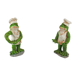 2 Piece Funny Frog Chef Wine Bottle Holder - This awesome 2 piece frog chef bottle holder figurine is great for holding wine bottles, liquor bottles, or for holding olive oil as part of your kitchen decor. Made of cold cast resin, the holders stand 8 inches tall, and are about 4 inches wide. Unlike some bottle holders, they can be adjusted to fit your bottle. It makes a great gift for any one who loves cooking. Sorry, the wine bottle in the pictures is not included.