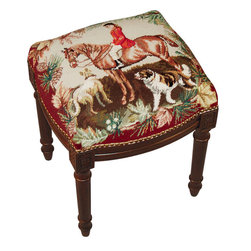 Beautiful Horses & Hunt Scene Needlepoint Footstool - Great for traditional, French Country, shabby chic or almost any decor. These are small so they are great for tight spaces.