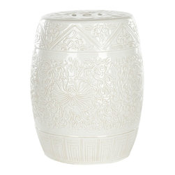 Safavieh Castle Gardens Collection Embossed Ceramic Garden Stool, White - I've seen garden stools like this one many times, but I've yet to see one with such a delicate floral pattern. It would fit in perfectly on a cottage patio as a side table, a foot stool or additional seating.