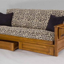 Gold Bond Futon - Burlington Full Futon Frame w 2 Drawers (Cher - Finish: Cherry OakMattress not included. Five support braces back and seat deck and four cross braces. Features two drawers for storage. Made from Siberian solid oak. Full Body: 79 in. W  x 38 in. D  x 33 in. H (81 lbs.). Full KD Drawer: 74 in. W x 20.5 in. D x 7.75 in. H (31 lbs.). Matching Futon Chair Optional: 33 in. W x 38 in. D  x 33 in. H (33 lbs.)