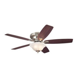 Westinghouse - Indoor Ceiling Fans: Westinghouse Sumter 52 in. Brushed Nickel Ceiling Fan 72476 - Shop for Lighting & Fans at The Home Depot. With its brushed nickel finish, 5 reversible blades, and frosted white alabaster glass light fixture, this Westinghouse Sumter 52 in. Brushed Nickel Ceiling Fan will add classic style and comfort to any room. Ideal for rooms over 400 sq. ft. (20 ft. x 20 ft.) with standard 8 ft. ceilings or lower, this hugger-mount fan features a 153 mm x 15 mm cold-rolled steel motor with triple capacitor for powerful, quiet air circulation and a reversible switch. Run the fan counterclockwise in the summer to keep your space cooler and clockwise in the winter to recirculation warm air from the ceiling. The ceiling fan provides airflow of up to 4,410 CFM. It is rated to operate at 60 watts at high speed (without lights), which gives it an airflow efficiency rating of 74 CFM/watt. (As a comparison, 49 in. to 60 in. ceiling fans have airflow efficiencies ranging from approximately 51 to 176 CFM/watt at high speed.) The Sumter comes with a 12 in. lead wire for installation. It is backed by a lifetime motor warranty and a 2-year warranty on all other parts.