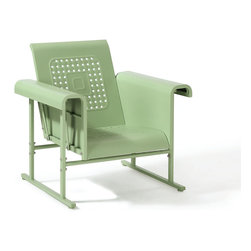 Crosley Furniture - Crosley Furniture Veranda Single Glider Chair in Oasis Green - Rest, relax, and reminisce with our nostalgically inspired Veranda retro metal gliders.� Designed to pay tribute to the iconic outdoor furniture of yesteryear, the Veranda collection is offered in a variety of colors to complement any outdoor space.�� Made of powder coated steel and built to withstand mother nature for years to come. �