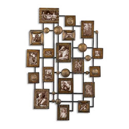 Uttermost Natane Decorative Metal Wall Art - Heavily distressed maple wash with gold undertones and black dry brushing. This collage of photo frames creates an exciting way to display lots of those special photos. Made from hand forged and hand hammered metal, the finish is a heavily distressed maple wash with gold undertones and black dry brushing.