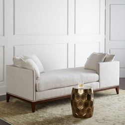 """Horchow - Teagan Double Chaise - NATURAL/LT TAN - Teagan Double ChaiseDetailsHardwood frame.Viscose/polyester/linen upholstery.Back cushion has feather/Dacron filling; seat cushion has Dacron /foam filling.86""""L x 36""""D x 28""""T; interior 79.5""""L x 33.5""""D x 21.25""""T.Imported.Boxed weight approximately 144 lbs. Please note that this item may require additional delivery and processing charges."""