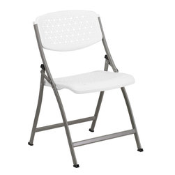 Flash Furniture - Flash Furniture Hercules Series White Designer Comfort Molded Folding Chair - The comfort molded Perforated folding chair by flash furniture is uniquely designed and offers a comfort level that is hard to find in a padded or a non-padded folding chair. This portable lightweight chair is perfect for Parties, Graduations, sporting events, school functions and in the classroom. This chair will also make a great addition in the home when in need of extra seating. You won't be disappointed with this folding chair that was designed to provide superior comfort to all users.