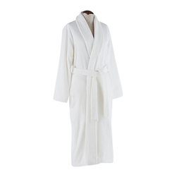 "Coyuchi® - Coyuchi® Organic Women's Grand Velour Robe, Large - Like the grandest spa wrap, this orgnic velour robe from Coyuchi is a sumptuous pairing of plush terry on the inside and silky velour outside. Cozy enough to wear straight from the bath, the organic cotton is also light enough to drape over pajamas. Velour shawl collar. Two side-seam pockets, self-belt and twill binding. Medium is 48"" long."