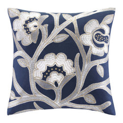 "echo design - African Sun Cotton Faux Linen Decorative Pillow - This African Sun decorative pillow brings a different feel to the set. It is made of 100% cotton sateen and the front is covered in a floral embroidery pattern. This pattern gives a delicate appeal next to this otherwise striking set. Features: -African Sun collection. -Color: Blue dress. -Material: 100% Cotton faux linen. -Poly filling. -Branch embroidery. Dimensions: -16"" H x 16"" W x 5"" D, 1.9 lbs."