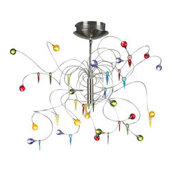 "PLC Lighting - PLC Lighting PLC 97971 20 Light Up / Down Lighting Chandelier Nautilus - *Nautilus 20 Light ChandelierSupplied with 5 each of red, amber, green, and blue glassFlexible wires allow for adjustable diameter up to 32""Telescopic from 12 to 24""20 10w 12V G4 Bulbs included"