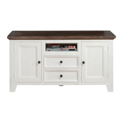 Jofran - Jofran 048-9 Nantucket Media Unit w/ 2 Drawers & 2 Doors & Open Shelf in Aged Wh - This beautifully constructed aged white media unit with two doors, two drawers and one opening will tastefully complement your decor and transform your room with luxury and style.