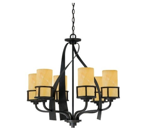 Quoizel Lighting - Quoizel Kyle Six-Light Single Tier Chandelier with Onyx Shades - KY5006IB - A rustic contemporary look that gives a dramatic flair to your home, this design serves as a piece of art in itself. It features gorgeous butterscotch onyx shades that emit a romantic glow, and sweeping wrought iron metal bands that add visual interest. Eight feet of chain and 12 feet of wire are included. The ceiling canopy measures 5-1/2-inches in diameter. Takes (6) 100-watt incandescent A19 bulb(s). Bulb(s) sold separately. ETL listed. Dry location rated.