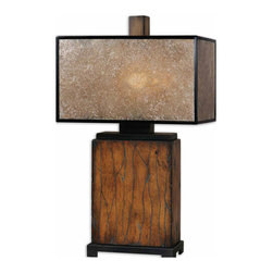 Uttermost - Uttermost Sitka Lamp w/ Natural Mica Shade - Lamp w/ Natural Mica Shade belongs to Sitka Collection by Uttermost Solid wood finished in a heavily distressed rustic mahogany with a light rottenstone glaze and aged black details. The rectangle box shade is made of natural Mica with aged black trim. Lamp (1)