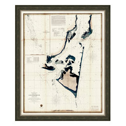 Soicher-Marin - Cape Fear River - Giclee print with a traditional rustic distressed dark grey wood frame with a tan/grey linen linerr.  Includes glass, eyes and wire. Made in the USA. Wipe down with damp cloth