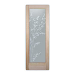 """Bathroom Doors - Glass Bathroom Door Frosted Obscure  Bamboo Forest - CUSTOMIZE GLASS BATHROOM DOORS!  Quality frosted glass bathroom door designs YOU Customize to suit YOUR decor!  Obscure glass bathroom doors create obscurity thru art!  Ship for just $99 to most states, $159 to some East coast regions, custom packed and fully insured with a 1-4 day transit time.  Available any size, as bathroom door glass insert only or pre-installed in a door frame, with 8 wood types available.  ETA for obscure decorative glass bathroom doors will vary from 3-8 weeks depending on glass & door type.........Block the view, but brighten the look with a beautiful interior glass door featuring a custom frosted glass design by Sans Soucie!   Select from dozens of sandblast etched obscure glass designs!  Sans Soucie creates their bathroom glass door designs thru sandblasting the glass in different ways which create not only different effects, but different levels in price.  Choose from the highest quality and largest selection of frosted decorative glass interior doors available anywhere!   The """"same design, done different"""" - with no limit to design, there's something for every decor, regardless of style.  Inside our fun, easy to use online Glass and Door Designer at sanssoucie.com, you'll get instant pricing on everything as YOU customize your door and the glass, just the way YOU want it, to compliment and coordinate with your decor.  When you're all finished designing, you can place your order right there online!  Glass and doors ship worldwide, custom packed in-house, fully insured via UPS Freight.   Glass is sandblast frosted or etched and bathroom door designs are available in 3 effects:   Solid frost, 2D surface etched or 3D carved. Visit our site to learn more!"""