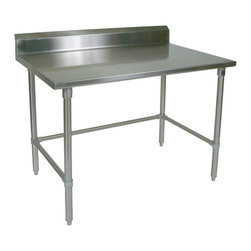 John Boos Commercial - Stainless Steel Work Table, Rear Riser - This Boos Stainless Steel work table, including its 5-inch rear riser and base are made of 16-gauge Type 300 s.s. Bracing can be adjusted to desired height.