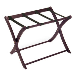 Winsome - Luggage Rack - Dark Espresso - With its sturdy legs and thick canvas straps, the luggage rack is perfect for holding a heavy suitcase. Its finish and curved legs make it a worthy addition to anyone's bedroom.