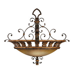 Fine Art Lamps - Castile Pendant, 219742ST - If you favor the Spanish influence on design, this fixture will star in your favorite setting. The pendant features antiqued iron curls and leaves supporting a gold-dusted glass coupe.
