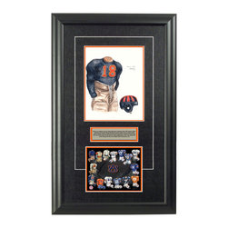 """Heritage Sports Art - Original art of the NCAA 1932 Auburn Tigers uniform - This beautifully framed NCAA football piece features an original piece of watercolor artwork glass-framed in an attractive two inch wide black resin frame with a double mat. The outer dimensions of the framed piece are approximately 17"""" wide x 28"""" high, although the exact size will vary according to the size of the original piece of art. At the core of the framed piece is the actual piece of original artwork as painted by the artist on textured 100% rag, water-marked watercolor paper. In many cases the original artwork has handwritten notes in pencil from the artist. Simply put, this is beautiful, one-of-a-kind artwork. The outer mat is a rich textured black acid-free mat with a decorative inset white v-groove, while the inner mat is a complimentary colored acid-free mat reflecting one of the team's primary colors. The image of this framed piece shows the mat color that we use (Orange). Beneath the artwork is a silver plate with black text describing the original artwork. The text for this piece will read: This is an original, one-of-a-kind watercolor painting of the 1932 Auburn Tigers uniform worn by #18 Jimmy Hitchcock and was used in the creation of this Auburn Tigers uniform evolution print and thousands of Auburn products that have been sold across North America. This original piece of art was painted by artist Marguerite Perry for Maple Leaf Productions Ltd. Beneath the silver plate is a 6.5"""" x 7"""" reproduction of a uniform evolution print that celebrates the history of the team. The print beautifully illustrates the chronological evolution of the team's uniform and shows you how the original art was used in the creation of this print. If you look closely, you will see that the print features the actual artwork being offered for sale. The 6.5"""" x 7"""" print is shown above. The piece is framed with an extremely high quality framing glass. We have used this glass style for many years with ex"""