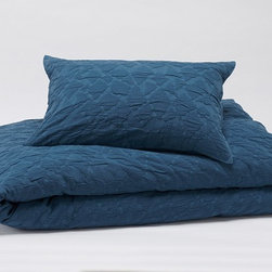 Coyuchi - Coyuchi Cotton Mache Duvet Cover, Mid Ocean Blue, King - This is matelassé as only Coyuchi could do it—relaxed and organic. Woven from pure cotton, in a free-form pattern that evokes water flowing over rocks, it's stone washed for a supple hand and great, puckered texture. Backed with organic cotton percale so it's the perfect year-round weight.