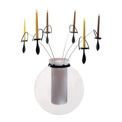 WS Bath Collections - Asami 235 Candle Holder - Aluminium and stainless steel candle holder for flower vase