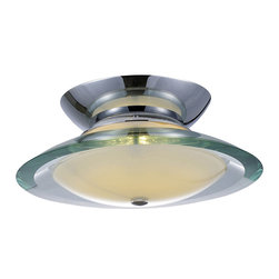 "ET2 Lighting - Curva 1-Light Flushmount Light - Sure, it's alien in design. Alien as in ""flying saucer."" It all serves the purpose of spreading light throughout your room in an efficient way. But that design — let's just say Steven Spielberg would be proud in a ""Close Encounters"" kind of way."