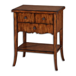 Uttermost - Uttermost Carmel Wood End Table 24140 - Casual styling in warm, old barn finish with three dovetail drawers, pewter finished knobs, and distressed primavera veneer.