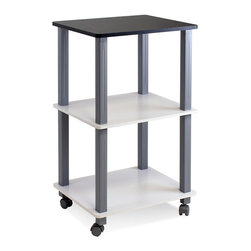 Furinno - Furinno 99856BK-WH/GY Turn-S-Tube Flexi Rack - Furinno Turn-N-Tube Home Living Room Series: Living room tables. (1) Unique Structure: Simple and stylish look is ideal as a decorative and home living essentials. Suitable for any rooms needing a table to serve. Designed to meet the demand of low cost but durable and efficient furniture. It is proven to be the most popular RTA furniture due to its functionality, price, and the no hassle assembly. (2) Smart Design: Easy Assembly and No tools required. A smart design that uses durable recycled PVC tubes and engineered particleboard that withstand heavy weight. Just repeat the twist, turn and stack mechanism, and the whole unit can be assembled within 10 minutes. Experience the fun of D-I-Y even with your kids . (3) The  Particleboard is manufactured in Malaysia and made from recycled materials of rubber trees. The manufacturing process complies with the green rules of production. There is no foul smell, durable and the material is the most stable amongst the particleboards. The PVC tube is made from recycled plastic and is tested for its durability. A simple attitude towards lifestyle is reflected directly on the design of Furinno Furniture, creating a trend of simply nature. All the products are produced and assembled 100-percent in Malaysia with 95% - 100% recycled materials.