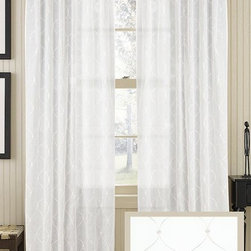 Home Decorators Collection - Starred Sheer Curtain Panel - Our sheer Starred Curtain Panel gives enough window coverage without blocking the light. Made of cotton, our curtain panel is light and airy and available in soft tones to blend with existing decor styles. A subtle design covers the curtain without being too overpowering. Made of 100% cotton. Sheer panel allows for light filtration. Hang with rod pocket or back tabs. One panel only.