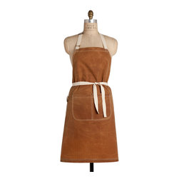"""Birdkage - Barley Waxed Classic Bib Apron - Birdkage - From Birdkage's new """"Heritage"""" collection, inspired by rugged American tradition.  The """"Barley"""" style is made of waxed brown heavyweight cotton canvas and has a distinct """"grid"""" pattern to it."""