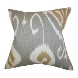 "The Pillow Collection - Cleon Ikat Pillow, Gray 18"" x 18"" - This eccentric throw pillow will surely lend a southwestern-inspired look to your interiors."