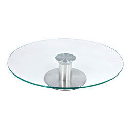 Cuisinox - Glass Cake Pedestal - Set an elegant table by raising your after dinner desert or birthday cake with this essential rotating cake pedestal. It has a 30 cm in diameter top made from tempered glass which rotates on a stainless steel ball bearings base.