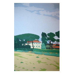 """In Tuscany: Stone Pines, Limited Edition, Hand Printed Work - Country house and pine trees in the Tuscany region of Italy. The dimensions above are the sheet size; the image is 18"""" x 12""""."""