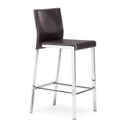 Zuo Modern - Zuo Boxter Counter Stool in Espresso - Counter Stool in Espresso belongs to Boxter Collection by Zuo Modern The Boxter Counter stool carries a sturdy heft from a regenerated leather seat and back with stitching and a solid steel chrome frame. Counter Stool (1)