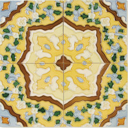 """Glass Tile Oasis - Camino 6"""" x 6"""" Yellow 6"""" x 6"""" Deco Tiles Glossy Ceramic - Tile Size:  6"""" x 6        PICTURE SHOWN IS 4 TILES TOGETHER   Sold by the piece   -  All ceramic tiles are hand painted. Glazed thickness will vary from tile to tile  resulting in color variation. Hand-Painted Ceramic tiles will craze and crackle over time  which is intentional and a desired effect."""