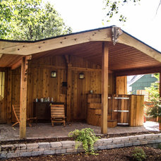 Traditional Garage And Shed by Moneca Kaiser DESIGN BUILD
