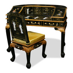 China Furniture and Arts - Mother of Pearl Lady Motif Harpsichord Style Desk W/ Chair - Inspired by the shape of classical harpsichord, it is a model of 18th century efficiency. Multi compartments with two curved doors for more storage space. Beautifully hand-applied black lacquer decorated with graceful mother of pearl figures. Solid brass hardware. Custom made matching chair included.