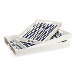Kathy Kuo Home - Carillo Coastal Beach Blue White Serving Tray Trio - Painted with a graphic check but in an easy, imperfect Mediterranean blue and white, this trio of trays are flexible to work as tabletop display, serveware and even office paper holders.  Talk about laid back and seriously stylish!
