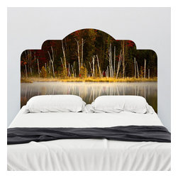 J. Paul Moore - Paul Moore's Red Jack Lake Headboard Wall Decal - Ethereal autumn reds, yellows, and browns bring the misty lake to life in this adhesive headboard wall decal. Drift off to sleep with Paul Moore's photography over your bed.