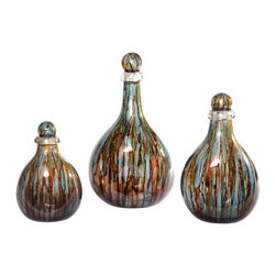 "Couleur - Cool Water Glass Bottles with Tops (set of 3) - Handcrafted by artisan glass blowers the Cool Water Glass Bottles with Tops make a wonderfully decorative and functional set of art glass accessories.  Each piece is individually crafted so no two will ever be the same. All of our art glass is carefully packaged for safe shipping to your door and insured against any kind of shipping damage. Sold as a set of 3Specifications Dimensions: Are approximate because of the handmade nature of this product. (length x width x height) Small: W 5"" x H 12"" (approximately)Medium: W 8"" x H  15"" (approximately)Large: W 7"" x H 20"" (approximately)Made in: Mexico (MEX)  Style: Room: Living Room, Dining Room, OfficeUse: Decoration Only - Home Accent, Table Top Decor, Wall Decor, Shelf DecorIndoor / Outdoor: IndoorCare: Wipe clean with a soft damp cloth.Additional Information: These are sold as a set of 3."
