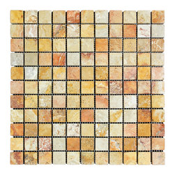 STONE TILE US - Stonetileus 10 pieces (10 Sq.ft) of Mosaic Antique Blend 1x1 Tumbled - STONE TILE US - Mosaic Tile - Antique Blend 1x1 Tumbled Specifications: Coverage: 1 Sq.ft size: 1x1 - 1 Sq.ft/Sheet Piece per Sheet : 121 pc(s) Tile size: 1x1 Sheet mount:Meshed back Stone tiles have natural variations therefore color may vary between tiles. This tile contains mixture of gold - white - light brown - dark brown - yellow - copper - red - ivory - and color movement expectation of high variation, The beauty of this natural stone Mosaic comes with the convenience of high quality and easy installation advantage. This tile has Tumbled surface, and this makes them ideal for floor, walls, kitchen, bathroom, outdoor, Sheets are curved on all four sides, allowing them to fit together to produce a seamless surface area. Recommended use: Indoor - Outdoor - High traffic - Low traffic - Recommended areas: Antique Blend 1x1 Tumbled tile ideal for floor, walls, kitchen, bathroom,Free shipping.. Set of 10 pieces, Covers 10 sq.ft.