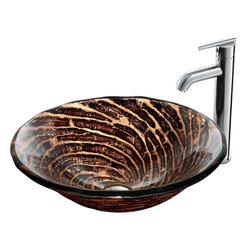 VIGO Industries - VIGO Chocolate Caramel Swirl Glass Vessel Sink and Faucet Set in Chrome - This VIGO Chocolate Caramel Swirl glass vessel sink and faucet set will bring a modern, yet warm design to your bathroom.