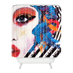 DENY Designs - Lana Greben Real Fantasies Prada 3 Shower Curtain - Who says bathrooms can't be fun? To get the most bang for your buck, start with an artistic, inventive shower curtain. We've got endless options that will really make your bathroom pop. Heck, your guests may start spending a little extra time in there because of it!