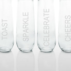 None - Celebrate! Stemless Champagne Glasses (Set of 4) - Stock up your party cupboards with these ultra chic,stemless flutes and give even more cause for celebration! These glasses are sold in sets of four and can be engraved with 'Toast','Sparkle','Celebrate' and 'Cheers' at no additional cost.
